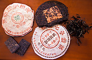Pu' er tea  in packaging,  Yi Wu village, Yunnan Province, China