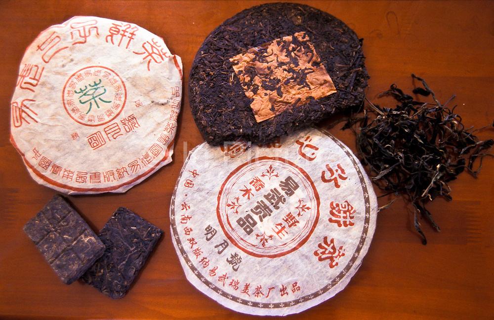 Pu' er tea  in packaging,  Yi Wu village, Yunnan Province, China