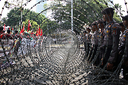 September 6, 2017 - Jakarta, Indonesia - Indonesian muslims from various organization staged a rally in front of Myanmar Embassy in Jakarta. They condemning the violation and genocides carried out by Myanmar's Government and Military to Rohingyas peoples. And in response to the action of the Myanmar government that they call as 'barbarians' the masses called the Indonesian government to expel Myanmar's Ambassador from Indonesia and cut off diplomatic ties with Myanmar. There was a clash in the action between protesters and the police as they were about to force down the Myanmar flag from embassy. (Credit Image: © Aditya Irawan/NurPhoto via ZUMA Press)