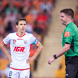 BRISBANE, AUSTRALIA - OCTOBER 13: Isaias of Adelaide reacts to a refereeing decision during the Round 2 Hyundai A-League match between Brisbane Roar and Adelaide United on October 13, 2017 in Brisbane, Australia. (Photo by Patrick Kearney)
