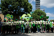 Commemoration of the first anniversary of the devastating fire of 14th/15th June  2017 in Grenfell Tower, Lancaster West Estate, West London, United Kingdom when 72 people were killed. After a 72 second silence one second for each victim survivors and family members held a silent walk to the tower.