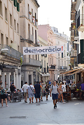 Catalonia, Spain Sep 2017. Sitges. On 1 October Catalans will go to the polls to vote in a referendum on whether to secede from Spain and form an independent republic however Madrid says the referendum is unconstitutional. Political flags proliferate throughout the region.
