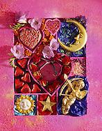 Valentines box of chocolates stock photos