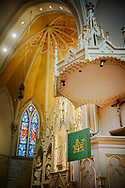 The pulpit and reredos on Saturday, Jan. 16, 2021, at Zion Lutheran Church, Fort Wayne, Indiana. LCMS Communications/Erik M. Lunsford