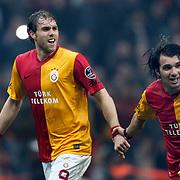 Galatasaray's Johan Elmander (L) and Engin Baytar (R) Positive emotion during their Turkish superleague soccer derby match Galatasaray between Besiktas at the TT Arena at Seyrantepe in Istanbul Turkey on Sunday, 26 February 2012. Photo by TURKPIX