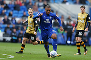 Kenneth Zohore of Cardiff city © in action.EFL Skybet championship match, Cardiff city v Sheffield Wednesday at the Cardiff City Stadium in Cardiff, South Wales on Saturday 16th September 2017.<br /> pic by Andrew Orchard, Andrew Orchard sports photography.