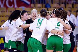 Players of Olimpija celebrate at first finals handball match of Slovenian Women National Championships between RK Olimpija and RK Krim Mercator, on May 16, 2009, in Arena Tivoli, Ljubljana, Slovenia. Olimpija won after 10 years vs Krim Mercator 30:28. (Photo by Vid Ponikvar / Sportida)