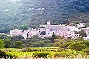 The village of Corconne. Pic St Loup. Languedoc. Les Contreforts des Cevennes. France. Europe.