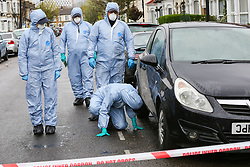 © Licensed to London News Pictures. 02/04/2019. London, UK. Forensic and search team officers looking for clues within the crime scene in Edmonton, North London where a man in his 30s was stabbed just after 5am this morning. He is in a life threatening condition. According to the police the victim was attached on Fairfield Road in Edmonton.  On Sunday 31 March 2019, four people were stabbed in just 14 hours during knife attacks within a quarter-mile radius in Edmonton North London, including one on Aberdeen Road. Two men were arrested on suspicious of grievous bodily harm. Photo credit: Dinendra Haria/LNP