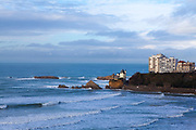 Winter in Biarritz, with a wild Atlantic Ocean lashing the coast.