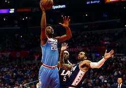 January 27, 2019 - Los Angeles, CA, U.S. - LOS ANGELES, CA - JANUARY 27: Sacramento Kings center Harry Giles III (20) goes up for a shot during the game against the Los Angeles Clippers on January 27, 2019, at Staples Center in Los Angeles, CA. (Photo by Adam  Davis/Icon Sportswire) (Credit Image: © Adam Davis/Icon SMI via ZUMA Press)