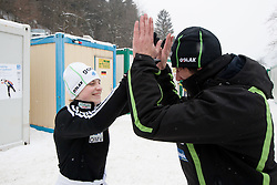 Spela Rogelj and Primoz Peterka, assistant coach of Slovenia at warming up during Normal Hill Individual Competition at FIS World Cup Ski jumping Ladies Ljubno 2012, on February 12, 2012 in Ljubno ob Savinji, Slovenia. (Photo By Vid Ponikvar / Sportida.com)