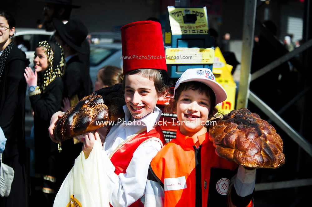 Young orthodox boys in Purim costume Photographed in Bnei Brak, Israel