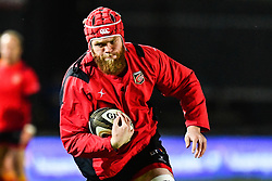 Dragons' Joseph Davies during the pre match warm up<br /> <br /> Photographer Craig Thomas/Replay Images<br /> <br /> Guinness PRO14 Round 18 - Dragons v Cheetahs - Friday 23rd March 2018 - Rodney Parade - Newport<br /> <br /> World Copyright © Replay Images . All rights reserved. info@replayimages.co.uk - http://replayimages.co.uk
