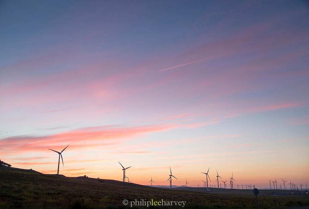 Wind farm at sunset in Tarifa, Spain