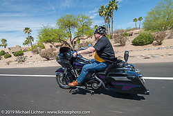 Yale Gelfant on the Hamsters annual Dry Heat Run on Thursday of Arizona Bike Week 2014. USA. April 4, 2014.  Photography ©2014 Michael Lichter.