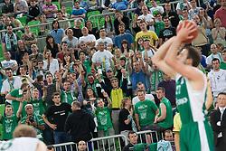 Krka fans during basketball match between KK Union Olimpija and KK Krka in 4nd Final match of Telemach Slovenian Champion League 2011/12, on May 24, 2012 in Arena Stozice, Ljubljana, Slovenia.  (Photo by Grega Valancic / Sportida.com)