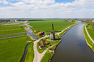 Nederland, Purmerend,  20190405<br /> Polder net buiten Purmerend met oude windmolen die nodig was om de polder droog te maken. <br /> <br /> Foto: (c)Michiel Wijnbergh