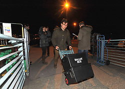 Election staff arrive with ballot papers for the local election count at Riverside Ice & Leisure Centre in Chelmsford, Essex.