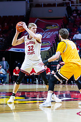 NORMAL, IL - February 15: Ryan Fazekas holds Taylor Bruninga near half court during a college basketball game between the ISU Redbirds and the Valparaiso Crusaders on February 15 2020 at Redbird Arena in Normal, IL. (Photo by Alan Look)