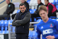 Hibernian Manager Jack Ross pointing, directing, signalling, gesture during the Betfred Scottish League Cup match between Cove Rangers and Hibernian at Balmoral Stadium, Aberdeen, Scotland on 10 October 2020.