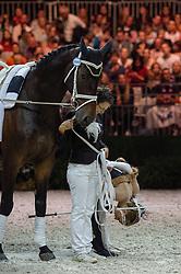 Carola Sneekes, Esther Sneekes, (NED), Nolan, Marjo Sneekes - Pas de Deux Vaulting - Alltech FEI World Equestrian Games™ 2014 - Normandy, France.<br /> © Hippo Foto Team - Jon Stroud<br /> 04/09/2014