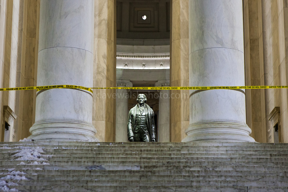 """Thomas Jefferson: Police Line, do not cross. Jefferson Memorial closed, due to cold weather conditions, Washington DC, January 2014 This mage can be licensed via Millennium Images. Contact me for more details, or email mail@milim.com For prints, contact me, or click """"add to cart"""" to some standard print options."""