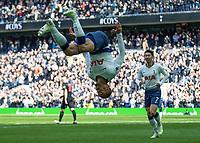 Football - 2018 / 2019 Premier League - Tottenham Hotspur vs. Huddersfield Town<br /> <br /> Lucas Moura (Tottenham FC) celebrates with a <br /> somersault celebration with a cartwheel at The Tottenham Hotspur Stadium.<br /> <br /> COLORSPORT/DANIEL BEARHAM