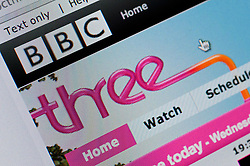 Detail of screenshot from website of BBC Three television channel homepage