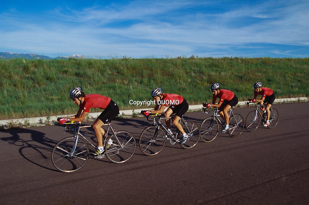Road cycling team in action.