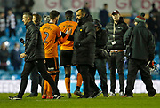 Wolverhampton Wanderers Head Coach Nuno Espírito Santo shakes hands with Wolverhampton Wanderers defender Matt Doherty at full time during the EFL Sky Bet Championship match between Leeds United and Wolverhampton Wanderers at Elland Road, Leeds, England on 7 March 2018. Picture by Paul Thompson.
