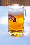 A big glass of refreshing cool beer, pivo, with white froth. Hotel and restaurant Kompas. Uvala Sumartin bay between Babin Kuk and Lapad peninsulas. Dubrovnik, new city. Dalmatian Coast, Croatia, Europe.