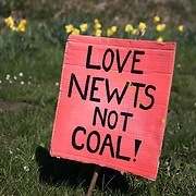 Day of protest in Pont Valley 5 May 2018  against the extraction of coal by the mining company Banks outside Dipton in Pont Valley, County Durham. Day of protest in Pont Valley 5 May 2018  against the extraction of coal by the mining company Banks outside Dipton in Pont Valley, County Durham. Locals have fought the open cast coal mine for thirty years and three times the local council rejected planning permissions but central government has overruled that decision and the company Banks was granted the license and rights to extract coal in early 2018. Locals have teamed up with climate campaigners and together they try to prevent the mining from going ahead. The mining will have huge implications on the local environment and further coal extraction runs agains the Paris climate agreement. A rare species of crested newt live on the land planned for mining and protectors are trying to stop the mine to save the newt.