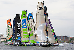© Sander van der Borch. Kiel - Germany, 27th of August 2009. iShares cup. Practice day...The first day of racing as part of the media day. the teams practice on the inland canal close to the city centre. The picture shows the fleet on one of the practice starts.