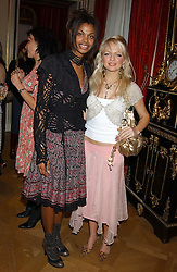 Left to right, SIM SCAVAZZA and HANNAH SANDLING at a fashion show featuring the Miss Selfridge Autumn/Winter '05 collections held at The Wallace Collection, Manchester Square, London W1 on 6th April 2005.<br /><br />NON EXCLUSIVE - WORLD RIGHTS