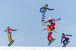 PYEONGCHANG, SOUTH KOREA - FEBRUARY 16:  Michela Moioli #2 of Italy, Julia Pereira de Sousa Marileau #15 of France, Chloe Trespeuch #6 of the United States, Eva Samkova #1 of the Czech Republic during the Ladies' Snowboard Cross on day seven of the PyeongChang 2018 Winter Olympic Games at Phoenix Snow Park on February 16, 2018 in Pyeongchang-gun, South Korea. Photo by Ronald Hoogendoorn / Sportida