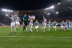 May 13, 2018 - Rome, Italy - FC Juventus players celebrate the conquest of the 7th consecutive Scudetto the Italian Serie A football match between A.S. Roma and FC Juventus at the Olympic Stadium in Rome, on may 13, 2018. (Credit Image: © Silvia Lore/NurPhoto via ZUMA Press)