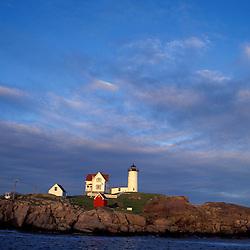 Lighthouses. The Nubble Point Light at Cape Neddick  ME.  Cape Neddick, York, ME