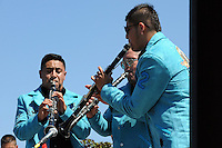 """Members of Banda Tierra Menguarense keep the music coming at Sunday's """"El Grito"""" celebration in Salinas marking September 16th's anniversary of Mexico's independence from Spain. The annual fiesta, which occupies East Alisal Street between Wood and Sanborn, brimmed as usual with booths selling patriotic souvenirs and all manner of food and drink. Local businesses and nonprofits manned booths with information about health and community programs, while traditional """"bandas"""" filled the afternoon with dance music and good cheer."""