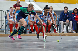 Bridget Kee of KZN Inland and Erin Prince of WP Peninsula fight for possession during the interprovincial indoor hockey tournament held at the Bellville Velodrome, Cape Town, on the 13th October 2016. Photo by: John Tee/RealTime Images