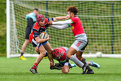 Ioan Lloyd of Bristol Academy U18 is tackled by Jack Glover of Harlequins Academy U18 - Mandatory by-line: Craig Thomas/JMP - 03/02/2018 - RUGBY - SGS Wise Campus - Bristol, England - Bristol U18 v Harlequins U18 - Premiership U18 League