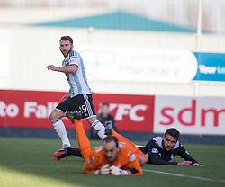 Hearts James Keatings scoring their third goal.<br /> Falkirk 0 v 3 Hearts, Scottish Championship game played 21/3/2015 at The Falkirk Stadium.