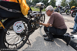 Norm Nelson of Florida adusts the valves on his 1911 Reading Standard at the side of the road in rural Missouir during the Motorcycle Cannonball Race of the Century. Stage-6 from Cape Girardeau, MO to Springfield, MO. USA. Thursday September 15, 2016. Photography ©2016 Michael Lichter.