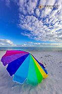 Umbrellas on beach on Sanibel Island, Florida, USA