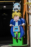 April 7, 2020, England, United Kingdom: A Japanese takeaway food supplier in London shows an effigy of Prime Minister Boris Johnson on a delivery mission with a panda bear on its head. The takeaway food chain is located nearby St Thomas' Hospital which is treating some of the coronaviruses COVID-19 patients including British Prime Minister Boris Johnson who is in intensive care fighting the coronavirus in London, Tuesday, April 7, 2020. (Credit Image: © Vedat Xhymshiti/ZUMA Wire)