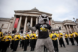 © Licensed to London News Pictures. 30/12/2012. London, UK. Members of the The Marching Bulldogs, from Adrian College in Michigan USA, are seen performing with their mascot 'Bruiser the Bulldog, in Trafalgar Square today (30/12/12) as part of a preview for London's 2012 New Years Day Parade. The parade, featuring more than 6000 performers, is set to take place on the New Year's Day, the 1st of January 2013, in the West End of London. Photo credit: Matt Cetti-Roberts/LNP