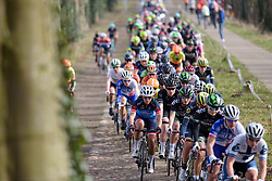 Carmen Small across the cobbles at Ronde van Drenthe 2017. A 152 km road race on March 11th 2017, starting and finishing in Hoogeveen, Netherlands. (Photo by Sean Robinson/Velofocus)