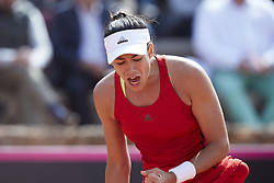 April 21, 2018 - La Manga, Murcia, Spain - Garbine Muguruza of Spain celebrates a point in her match against Montserrat Gonzalez of Paraguay during day one of the Fedcup World Group II Play-offs match between Spain and Paraguay at Centro de Tenis La Manga Club on April 21, 2018 in La Manga, Spain  (Credit Image: © David Aliaga/NurPhoto via ZUMA Press)