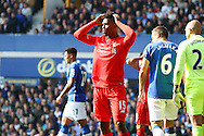 Daniel Sturridge of Liverpool reacts to missing a chance. Barclays Premier League match, Everton v Liverpool at Goodison Park in Liverpool on Sunday 4th October 2015.<br /> pic by Chris Stading, Andrew Orchard sports photography.