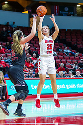 NORMAL, IL - November 20: Lexi Wallen shoots over Abby Woollacott during a college women's basketball game between the ISU Redbirds and the Huskies of Northern Illinois November 20 2019 at Redbird Arena in Normal, IL. (Photo by Alan Look)